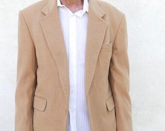 Tan Wool Sports Jacket, Mens Vintage Blazer, Saville Row Suit Coat