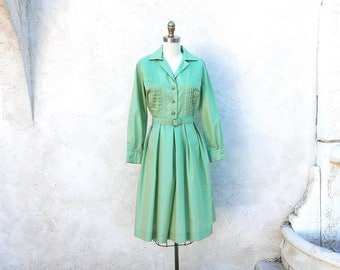 Green Shirtwaist, 1950s Long Sleeve Frock, Made in the USA, Light Green Vintage Dress