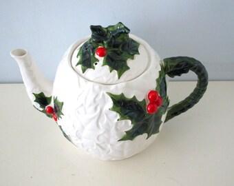 Vintage Lefton China Holly Teapot