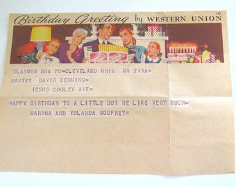 Vintage Western Union Birthday Telegram 1951