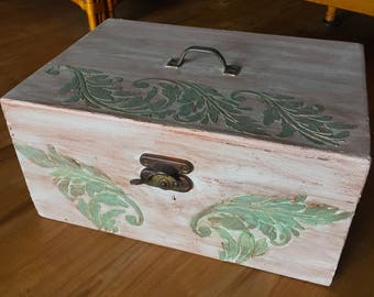 Vintage Gesso Raised Scrolled Leaves Wood Storage Box