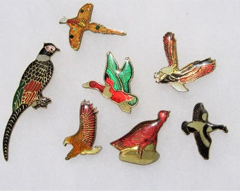 Vintage Enamel Pins: 7 Vintage Wild Bird Enamel Pins, Eagle, Pheasant, Duck, Game Birds