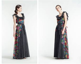 SOLD OUT / Vintage Albert Nippon Floral and Polka Dot Ruffle Maxi Dress Gown