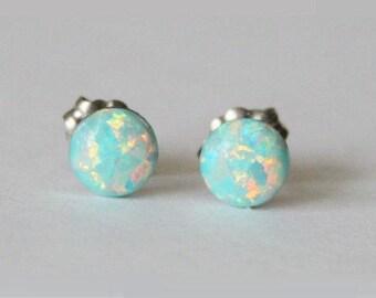 4mm, 5mm, 6mm, 8mm Aqua fire opal stud earrings,  Hypoallergenic Titanium earrings, Mint opal studs, Birthstone studs, Aqua opal studs