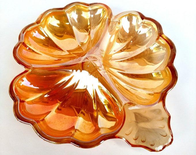 Vintage Iridescent Orange Carnival Glass Flower Dish