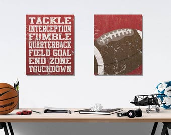 Foottball Vintage Weathered Wall Art Canvas Prints