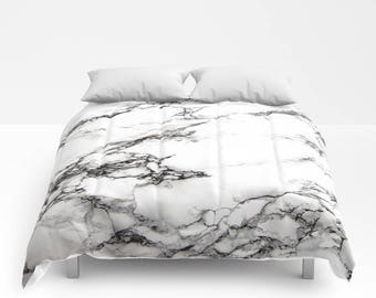 Black White Marble Duvet Cover or Comforter, Bedspread Twin Full,Grey Neutral Stone Texture Girls Dorm Bedding Teen Room Decor Bright color