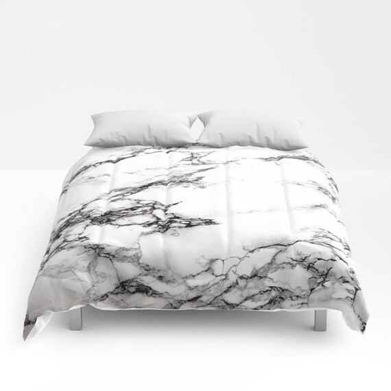 Black white marble duvet cover or comforter bedspread twin for Black and white marble bedding