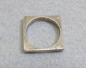1980s Square Sterling Silver Ring,  Size 6, Square Stacking Ring