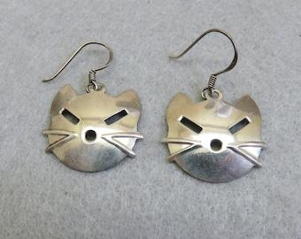 Cat Face Pierced Earrings, Sterling Silver, French Hook, Vintage