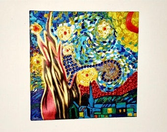 Custom listing - mixed media The Creative Mind on canvas inspired by Vincent Van Gogh 3D painting - custom size