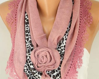 Cinnamon Knitted Floral Leopard Scarf, Shawl,Fall Winter, Bridesmaid Bridal Accessories Gift Ideas For Her Women Fashion Accessories