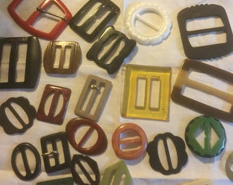 Collection  of vintage plastic buckles