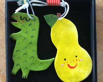Dinosaur/Pear.Ceramic Hanging Decoration/Cute T Rex ornament/Green Happy Pear decoration/kitsch decorations.Handmade in Wales