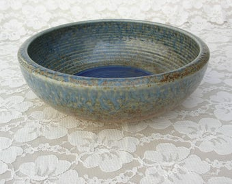 SUMMER SALE Stunning Large Japanese Ceramic Bowl, blue and beige, gorgeous glaze, purchased in Japan, pottery serving bowl,