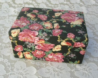 Floral Fabric Covered, Hinged Treasure Box for jewelry, keepsakes, travel treasures, souvenirs, as a gift box, etc.