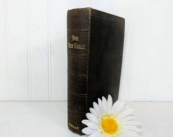 The Holy Bible ©1941 Faded Book Published by Douay Bible House Containing the Old & New Testaments and Maps Plus Blank Family Register Pages
