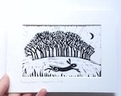 Hare trees original lino cut lino print