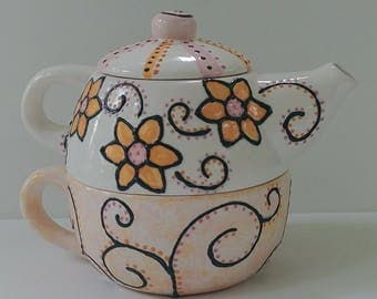 Ceramic Teapot for One, Cup - Orange and Pink - Flowers and Swirls