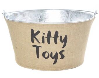Kitty Toys Burlap Galvanized Bucket