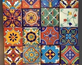"""Fridge Magnets Talavera ceramic Fridge Magnets 2"""" square tiles  (set of 6)"""