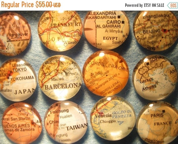 "12 Custom map Glass Fridge Magnets World Maps (set of 12) 1"" Destination Wedding, Corporate gifts, Bridal Shower favors"