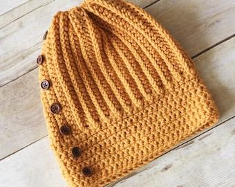 Women's Crochet Hat, Women's Slouch Hat, Winter Hat, Women's Fashion, Fall Fashion, Button Hat, Women's Accessories, Teen Crochet Hat