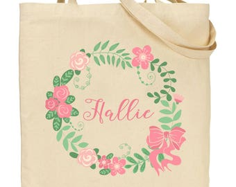 The Sweetest Girl Pink and Green Flower Girl Tote - Bridesmaid, Flower Girl Tote Bags for Weddings - Pink Flower and Vine Wreath