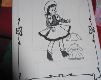 """Vintage TONI 14"""" Doll Pattern #0676-1 Cow Girl Outfit..will also fit other dolls....Fashions to Fit..Reproduction....Never Used...#164"""
