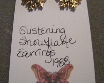 Vintage BEAUTIFUL Snowflake Earrings...1988...by Avon...29