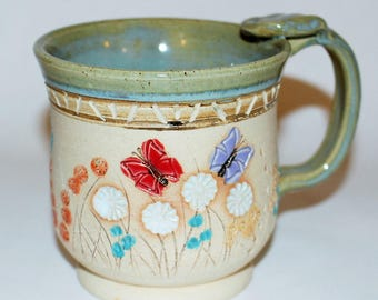 Ceramic Pottery Mug / Butterflies in the Grass