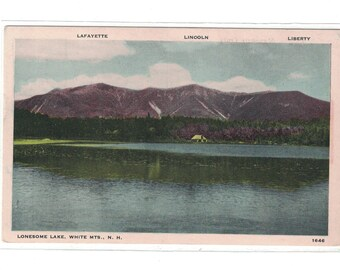 "New Hampshire, Vintage Postcard, ""Lonesome Lake, White Mts,  N.H.,""  around 1925, #1124."