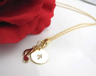 Personalized jewelry, Music note charm, initial charm, Gold necklace, Silver necklace, music, D-031