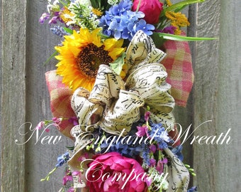 Summer Floral Swag, Summer Wreath, Country French Swag, Sunflower Wreath, Victorian Garden Swag, Elegant Floral Swag, Designer Floral Swag