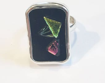 Ring Sterling Silver Hand Made Raised Abstract  Dichroic Glass size 5 to 8