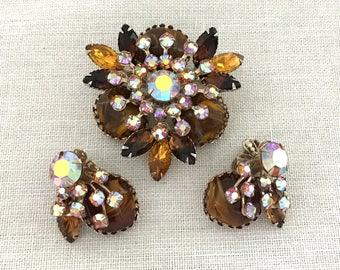 Vintage Rhinestone Brooch Set, Designer JUDY LEE Rhinestone Set, Topaz Rhinestone Brooch Earrings Set, Vintage 1950s Rhinestone Jewelry Set