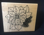 Poinsettia Christmas Rubber Stamp Used