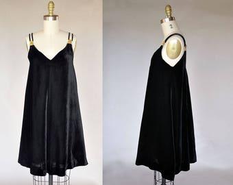Christian Dior dress | vintage 60s black velvet trapeze style dress | citrine crystal rhinestone shoulder details