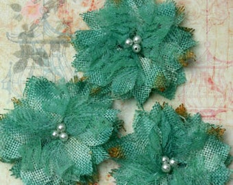 "Teal Burlap Birds Nest Lace Flower 2.5"" with pearls (3 pcs) 1207-205 rustic wedding vintage decor headband flowers lace flax fabric flower"
