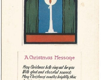 Traditional Christmas Candle in Window Vintage Postcard Christmas Greetings