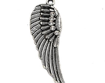 Angel Wing Charms -4pcs Oxidized Silver Rhinestone Wing Pendant  52x17mm
