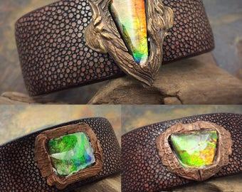 Ammolite, bronze, and leather, adjustable bracelets!