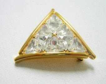 Butler Brooch, Vintage Clear Rhinestone Gold Tone Triangle Brooch, Brooch, Fashion Jewelry