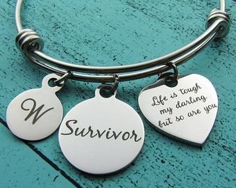 cancer survivor gift, survivor bracelet, life is tough my darling, strength jewelry, mental health awareness, sober addiction recovery gift