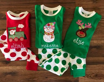 Personalized Christmas Pajamas PREORDER through JULY 14 - Your choice of applique and personalization