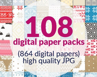 Sale 864 Digital backgrounds for SMALL COMMERCIAL USE, 108 paper packs, high quality digital paper background paper scrapbooking web design