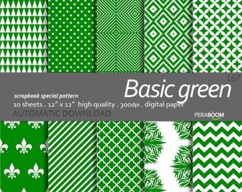 Green digital paper, Green scrapbook paper, Digital paper, Digital background, Fresh green, Small commercial use, Basic patterns, JPG