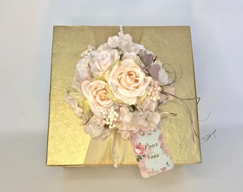 Pink Gold Cream Her Gift Ideas Girl Gift Box Mothers Day Her Birthday PreWrapped Gift Box Pink Rose Pale Pinks Cream With Rhinestones