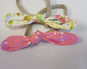 Baby Knot Hairbands Soft Stretchy Hair Bands for Babies, Toddlers and Little Girls Teal Floral Pink Dots