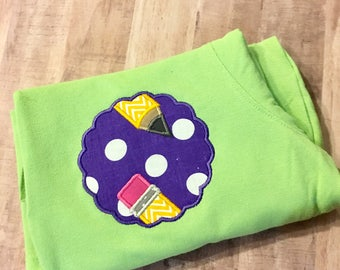 Personalized School/teacher scallopped pencil patch appliqued tshirt
